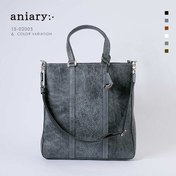 aniary トートバッグ Grind Leather 牛革 Totebag 15-02005-bkwh