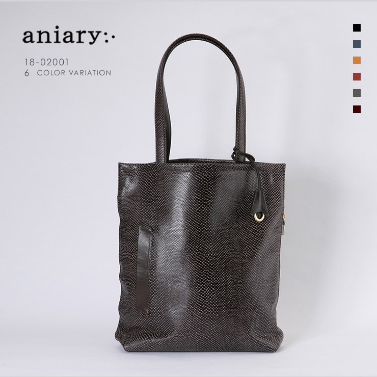 aniary トートバッグ Scale Leather 牛革 Totebag 18-02001-dbr