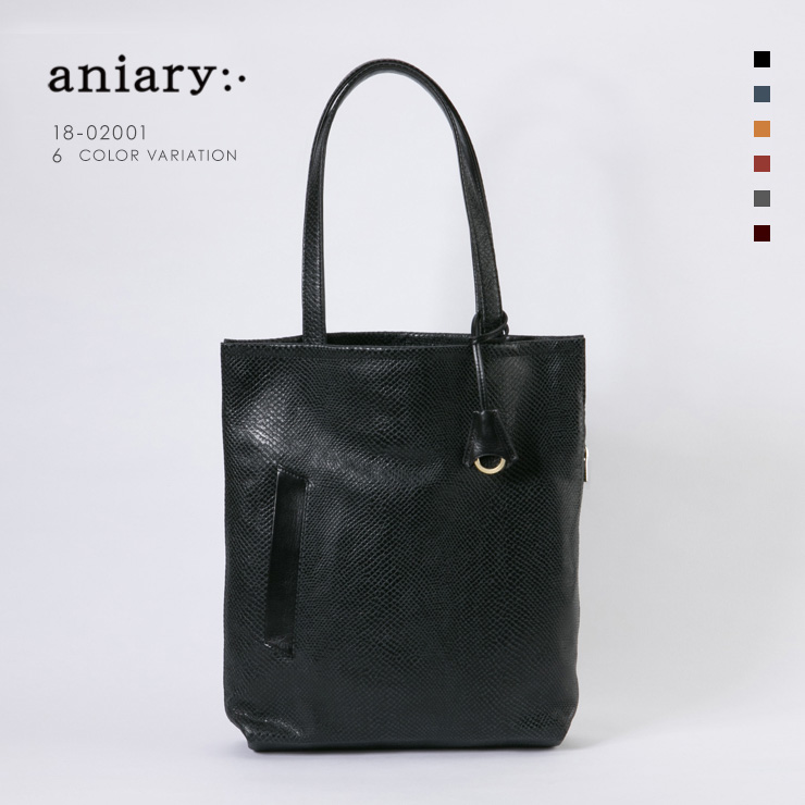 aniary トートバッグ Scale Leather 牛革 Totebag 18-02001-bk