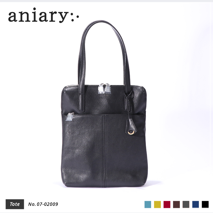 aniary トートバッグ Shrink leather 牛革 Totebag 07-02009-bk