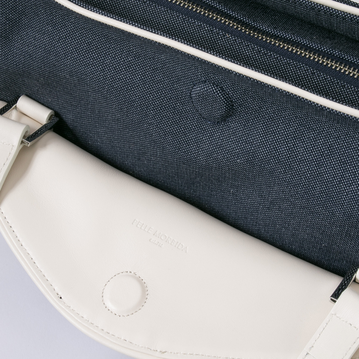 PELLE MORBIDA トートバッグ totebag pmo-on011 CHAMBRAY / WHITE