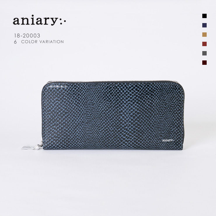 aniaryウォレット Scale Leather 牛革 Wallet 18-20003 ダークブラウン Dark Blue