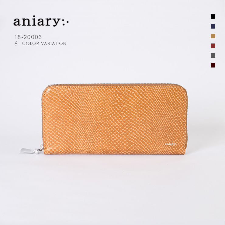 aniaryウォレット Scale Leather 牛革 Wallet 18-20003 キャメル Camel