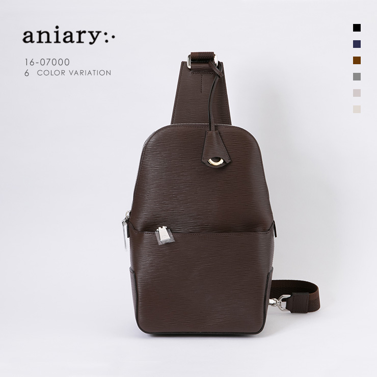 aniary ボディバッグ Wave Leather 牛革 Bodybag 16-07000-br
