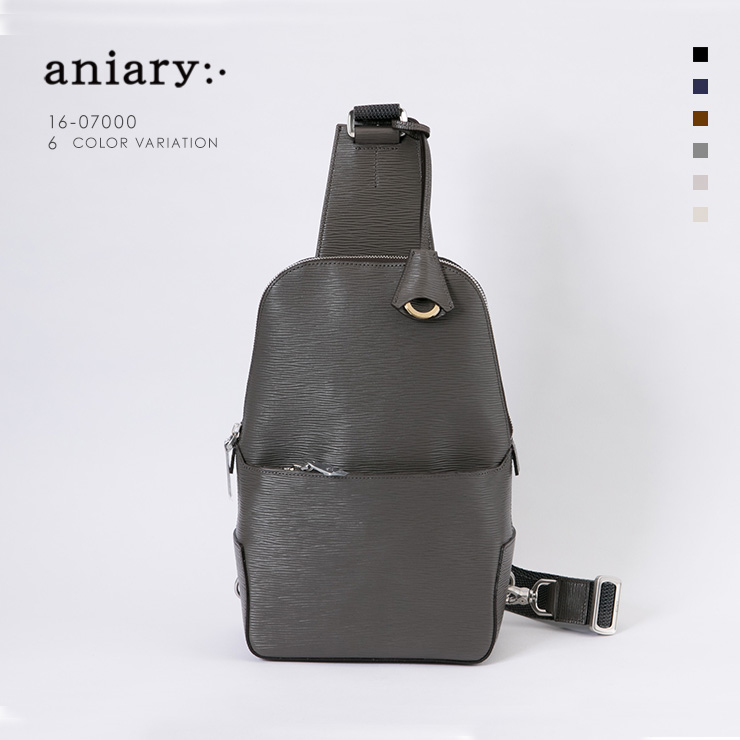 aniary ボディバッグ Wave Leather 牛革 Bodybag 16-07000-gy