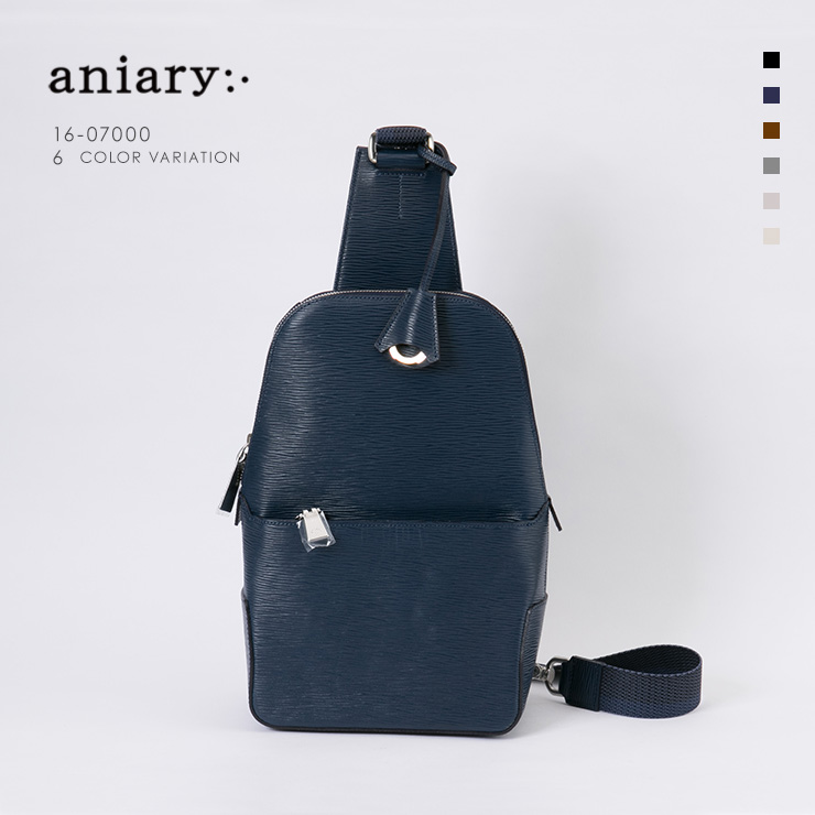 aniary ボディバッグ Wave Leather 牛革 Bodybag 16-07000-nv