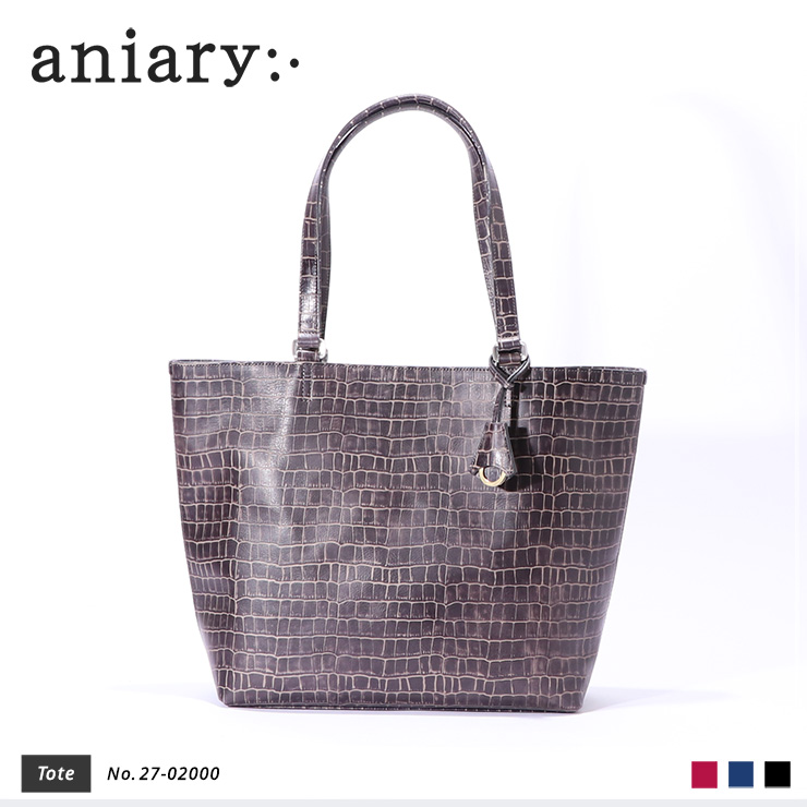 【aniary|アニアリ】トートバッグ Tint Embossing Leather 27-02000 Pale Black