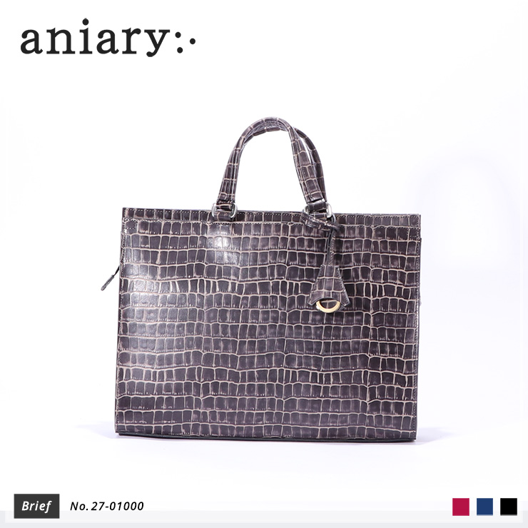 【aniary|アニアリ】ブリーフケース Tint Embossing Leather 27-01000 Pale Black