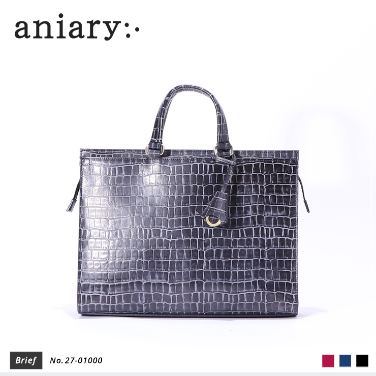 【aniary|アニアリ】ブリーフケース Tint Embossing Leather 27-01000 Navy