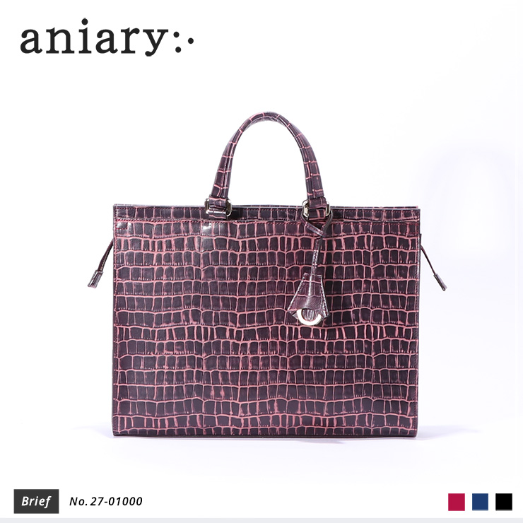 【aniary|アニアリ】ブリーフケース Tint Embossing Leather 27-01000 Bordeaux
