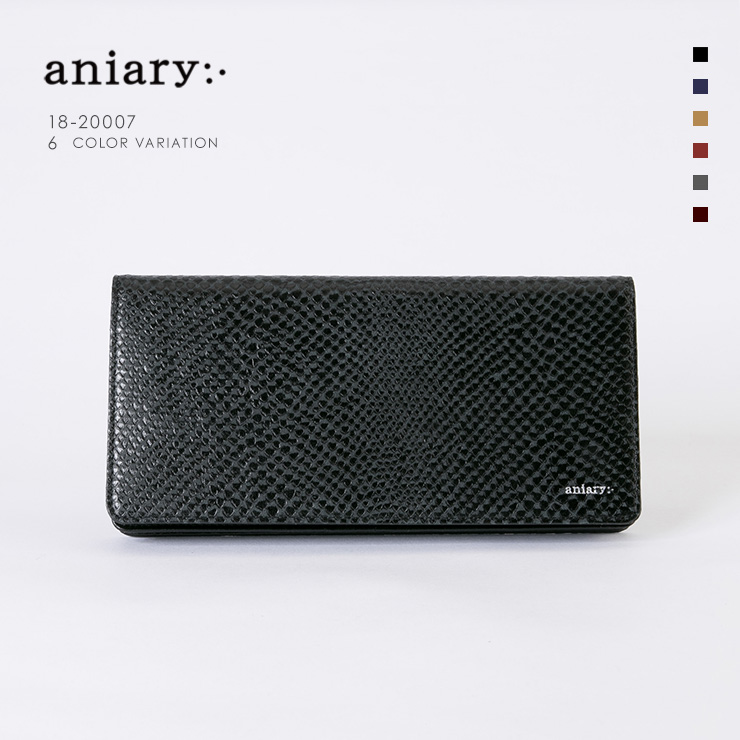 aniaryウォレット Scale Leather 牛革 Wallet 18-20007 ブラック Black