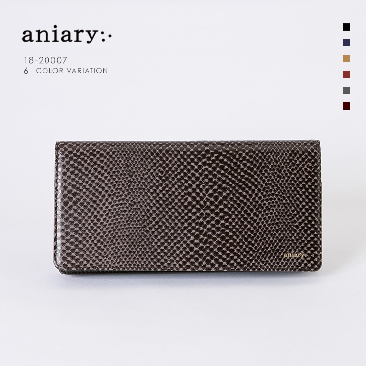 aniaryウォレット Scale Leather 牛革 Wallet 18-20007 ダークブラウン Dark Brown