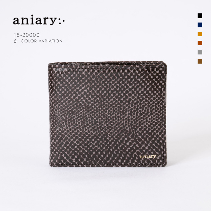 aniary ウォレット Scale Leather 牛革 Wallet 18-20000 ダーク ブラウン Dark Brown