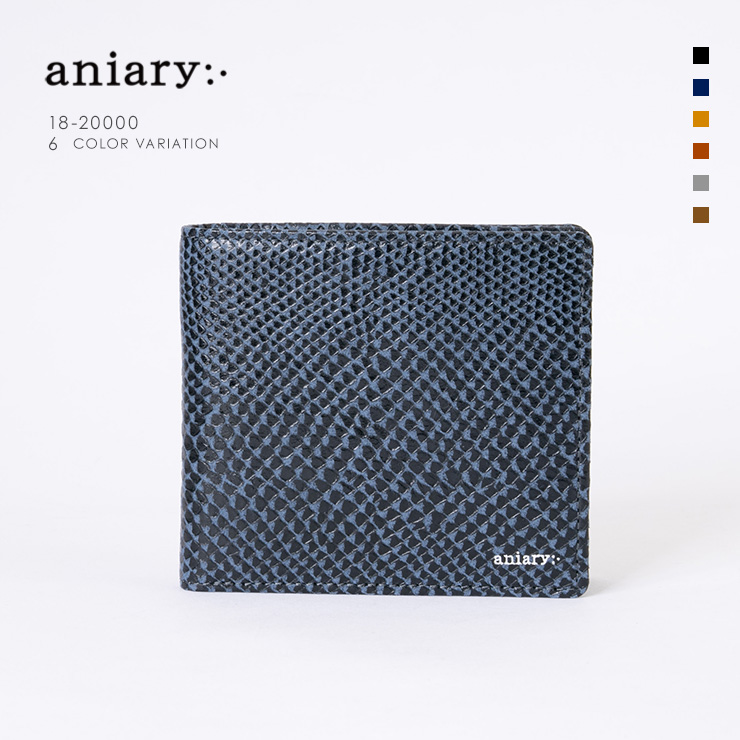 aniary ウォレット Scale Leather 牛革 Wallet 18-20000 ダーク ブルー Dark Blue