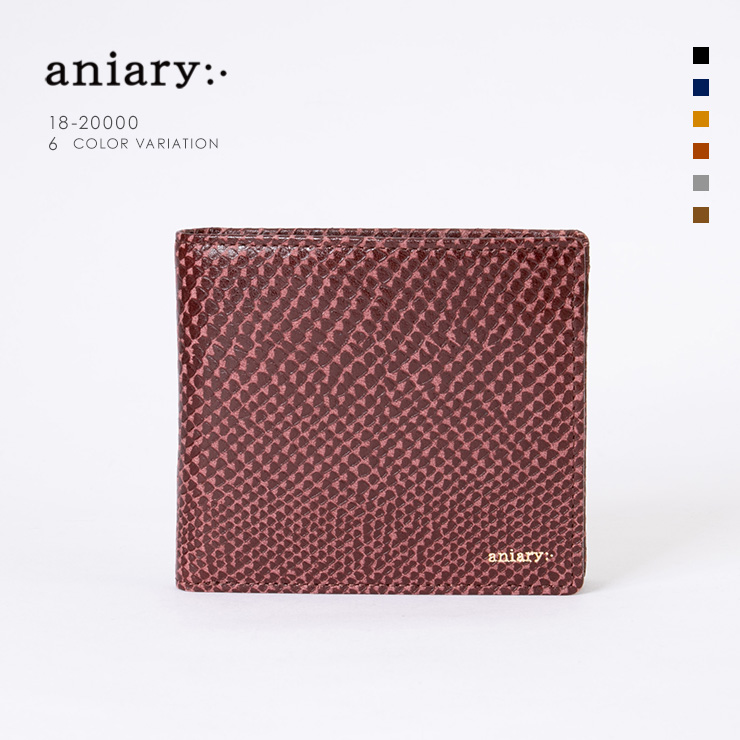 aniary ウォレット Scale Leather 牛革 Wallet 18-20000 マロン Marron