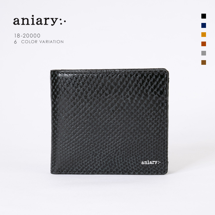 aniary ウォレット Scale Leather 牛革 Wallet 18-20000 ブラック Black