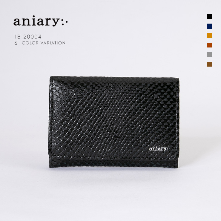 aniary 名刺入れ Scale Leather 牛革 Card Case 18-20004 ブラック Black