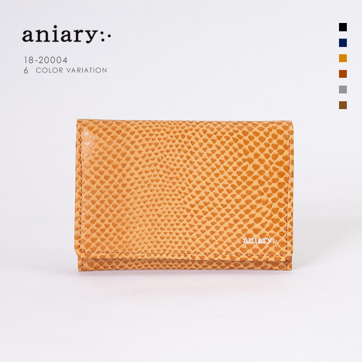 aniary 名刺入れ Scale Leather 牛革 Card Case 18-20004 キャメル Camel