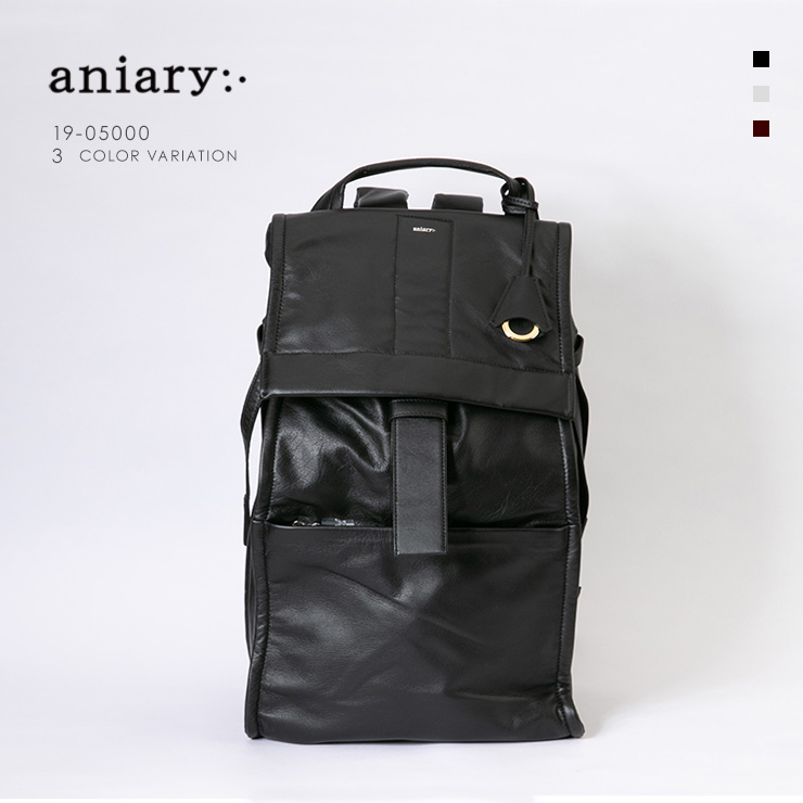 aniary リュックサック Garment Leather 牛革 Backpack 19-05000 ブラック Black