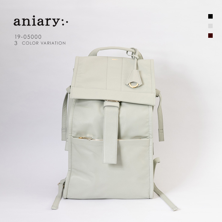 aniary リュックサック Garment Leather 牛革 Backpack 19-05000 アイボリー Ivory
