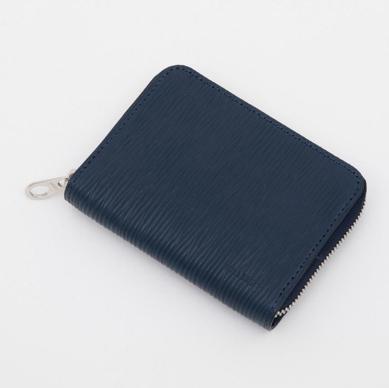 aniaryコインケース Wave Leather 牛革 Coin Case 16-20011 ネイビー Navy