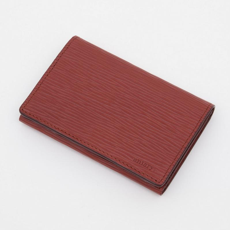 aniaryカードケース Wave Leather 牛革 Card Case 16-20004 レッド Red