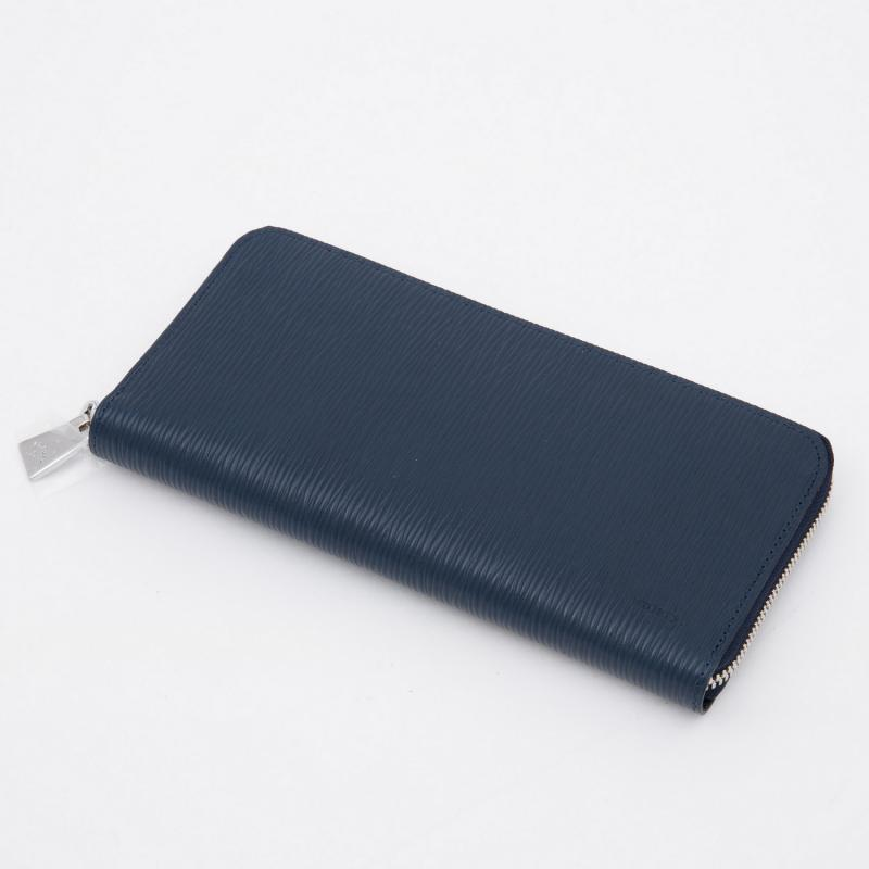 aniaryウォレット Wave Leather 牛革 Wallet 16-20003 ネイビー Navy