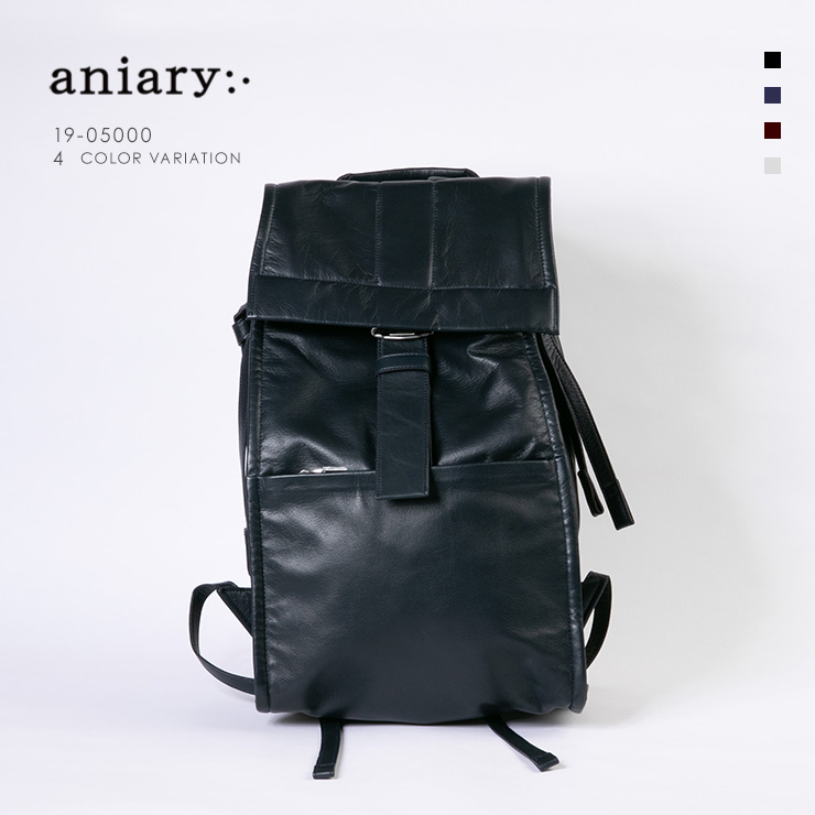 aniary リュックサック Garment Leather 牛革 Backpack 19-05000 ネイビー Navy