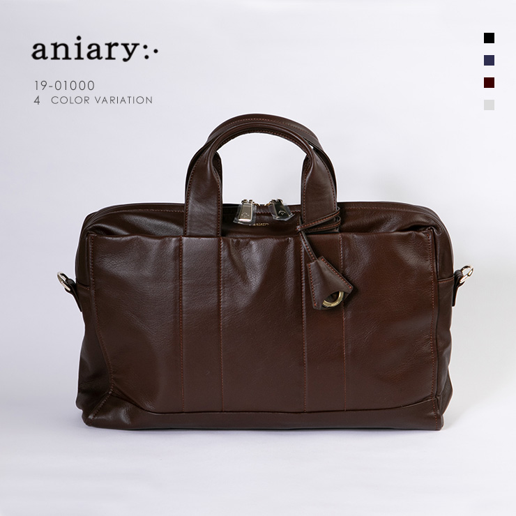 aniary ブリーフケース Garment Leather 牛革 Briefcase 19-01000 ブラウン Brown