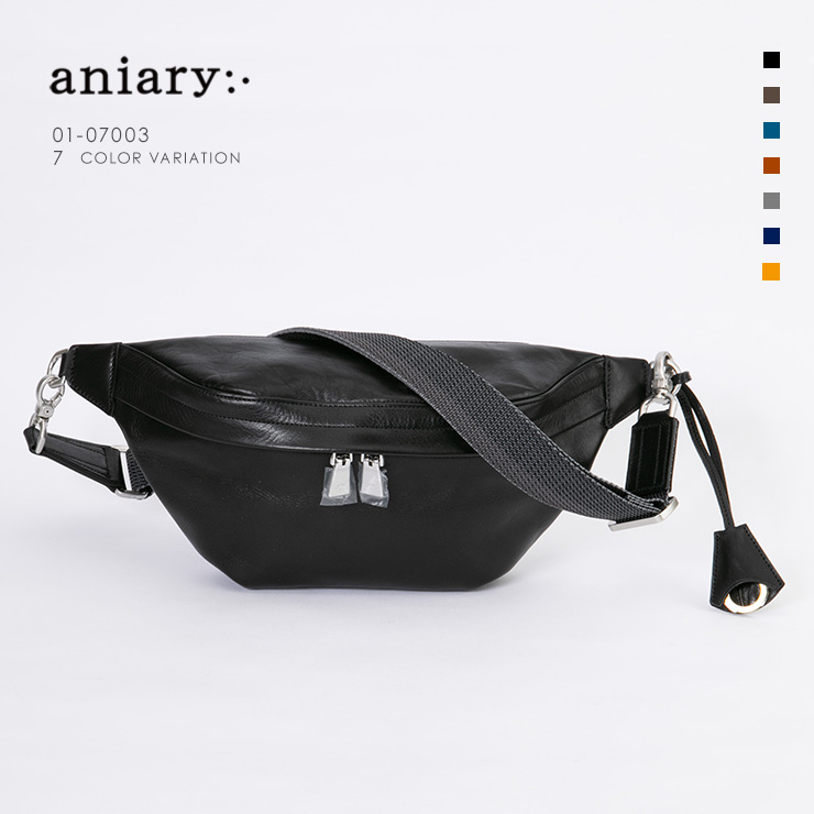 aniary ボディバッグ Antique Leather 牛革 Bodybag 01-07003-bk