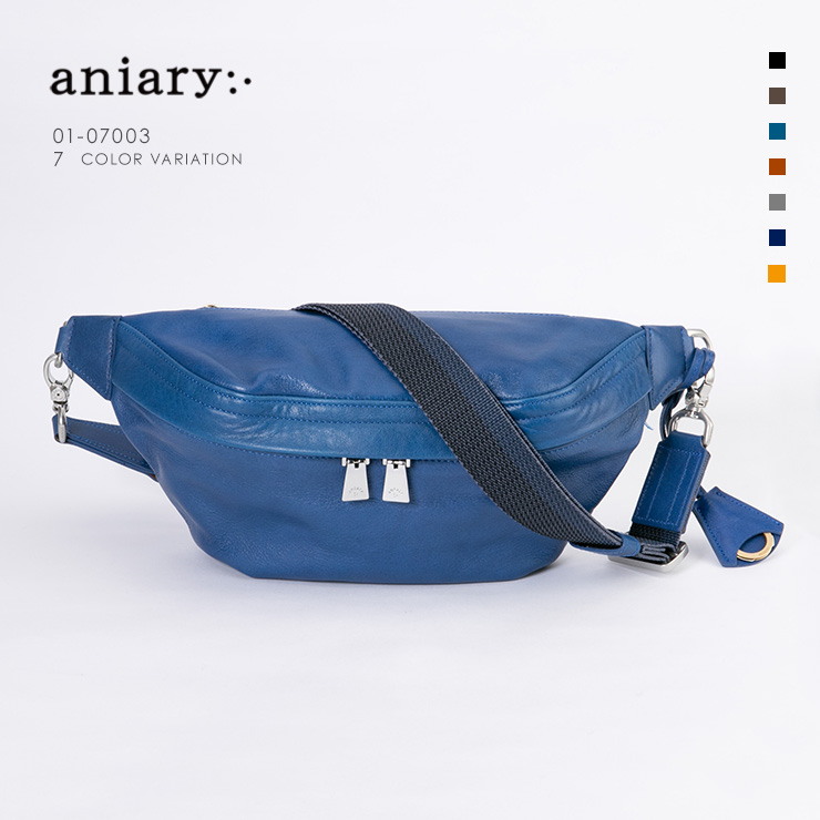 aniary ボディバッグ Antique Leather 牛革 Bodybag 01-07003-bl