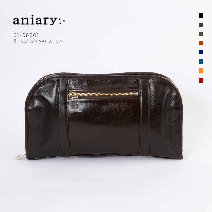 aniary クラッチ Antique Leather 牛革 Clutch 01-08001-dbr