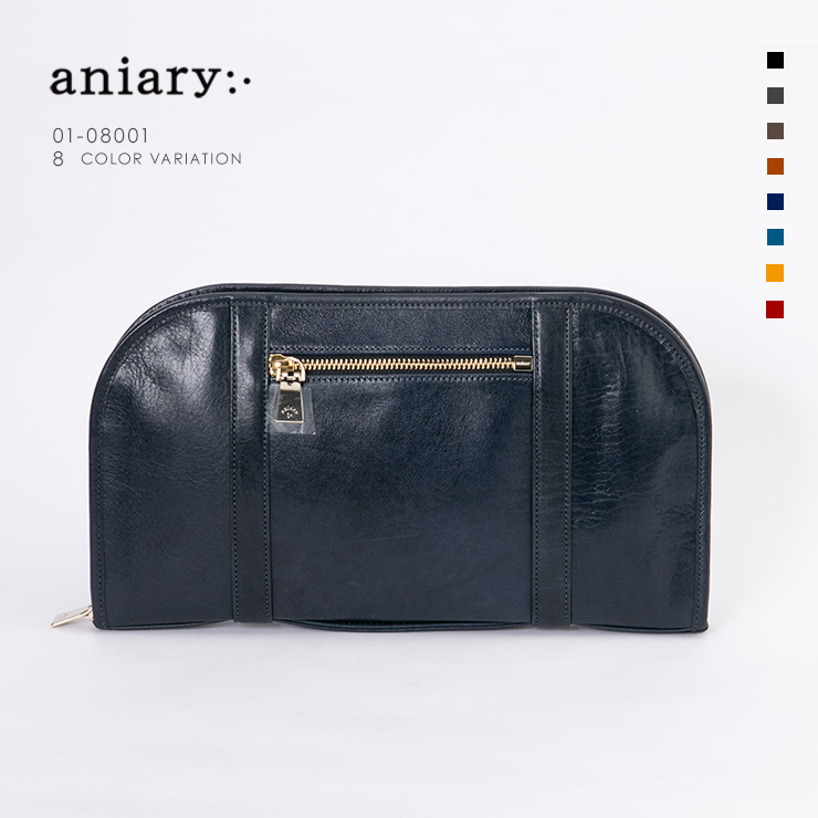 aniary クラッチ Antique Leather 牛革 Clutch 01-08001-dbl