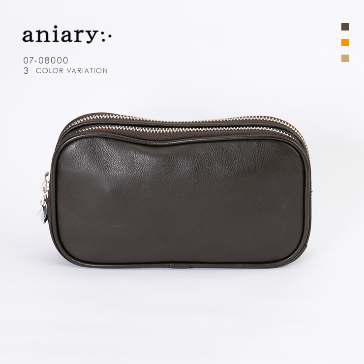 aniary クラッチ Shrink Leather 牛革 Clutch 07-08000-dbr