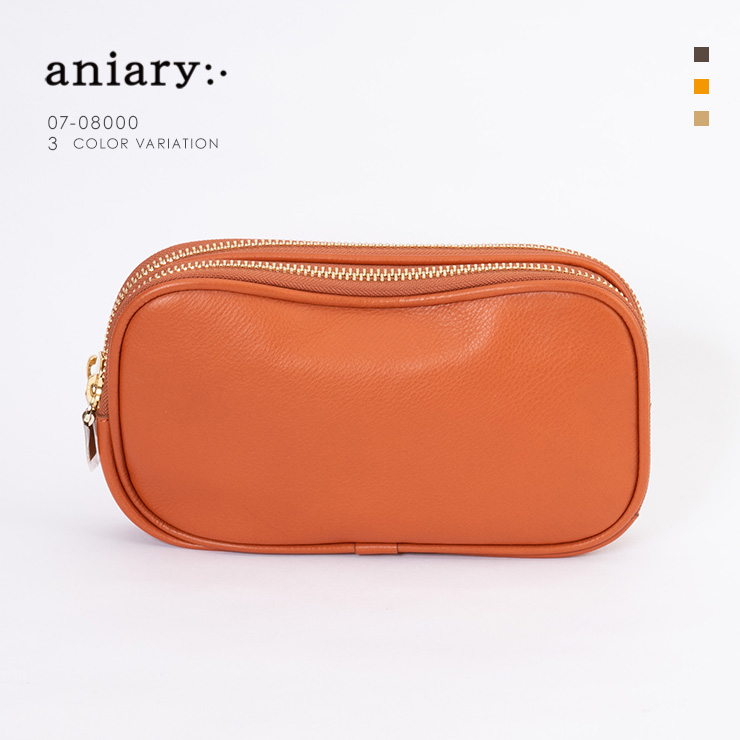 aniary クラッチ Shrink Leather 牛革 Clutch 07-08000-or