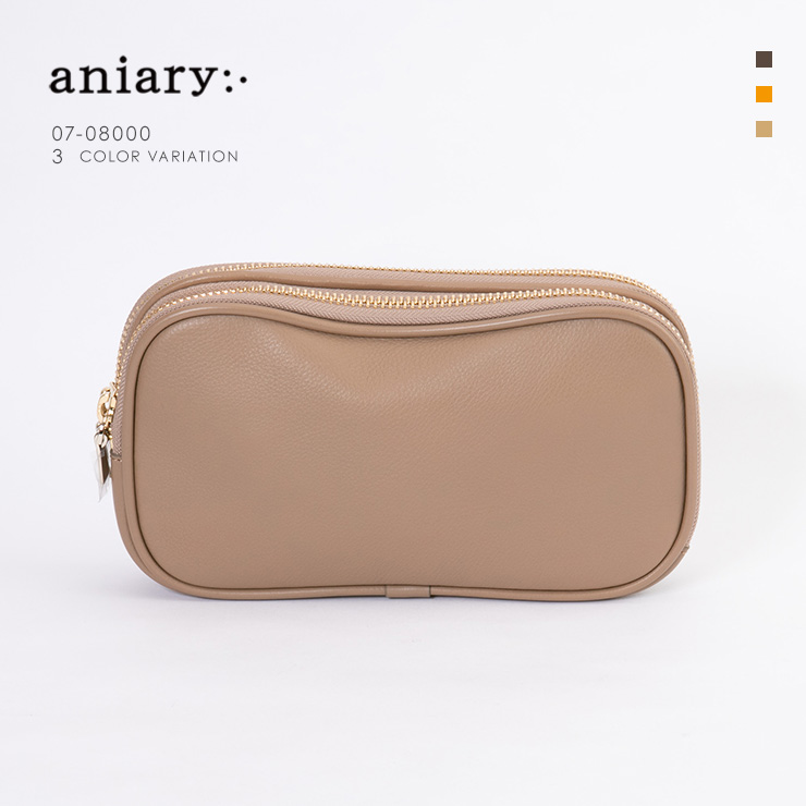 aniary クラッチ Shrink Leather 牛革 Clutch 07-08000-gg
