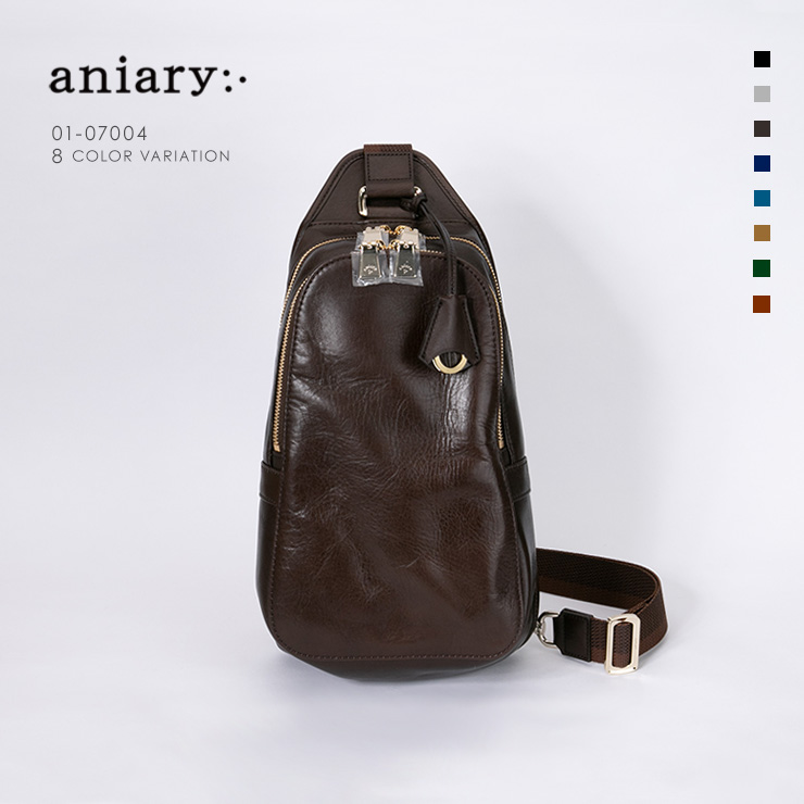 aniary ボディバッグ Antique Leather 牛革 Bodybag 01-07004-dbr