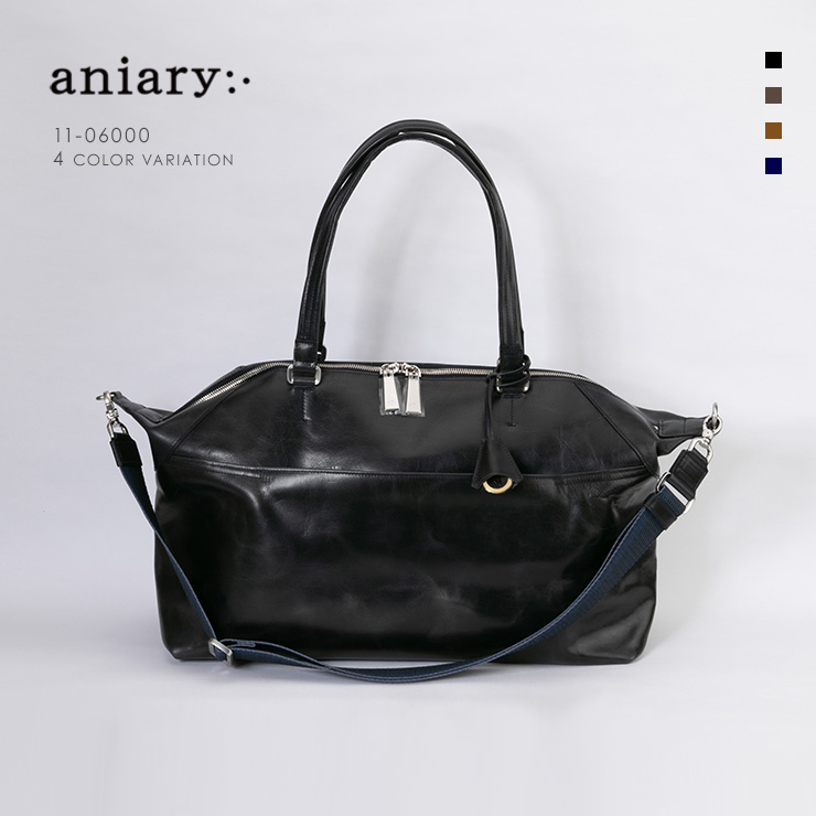 aniary ボストンバッグ Ideal Leather 牛革 Boston Bag 11-06000-nv