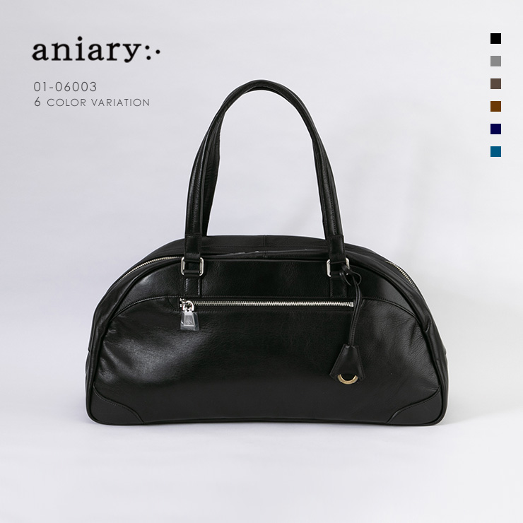 aniary ボストンバッグ Antique Leather 牛革 Boston Bag 01-06003-bk