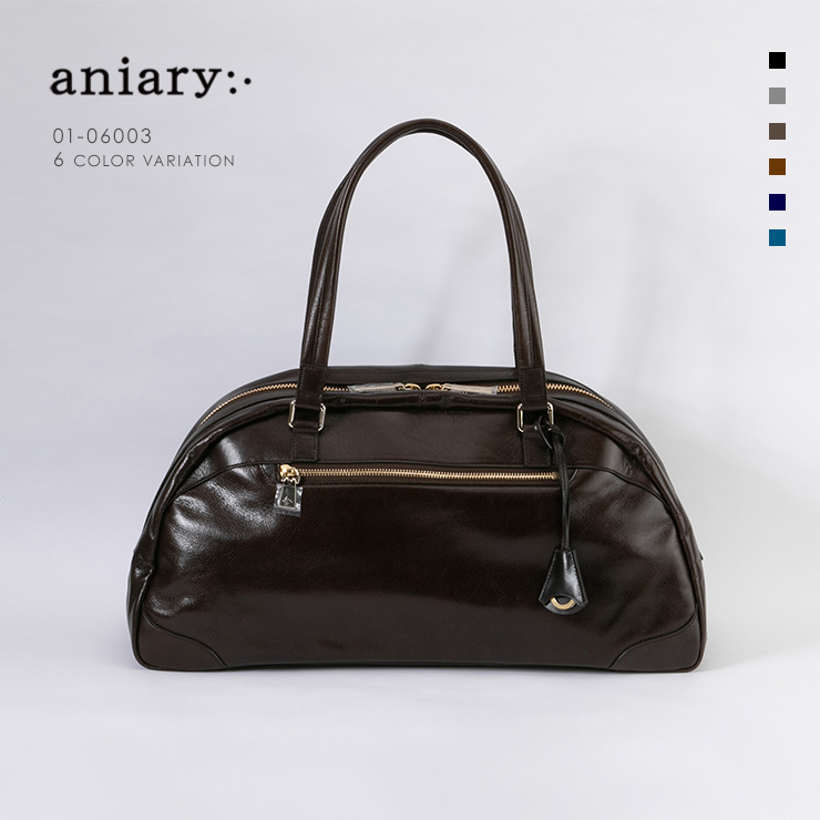 aniary ボストンバッグ Antique Leather 牛革 Boston Bag 01-06003-dbr