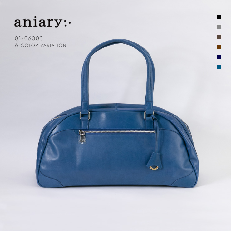 aniary ボストンバッグ Antique Leather 牛革 Boston Bag 01-06003-bl