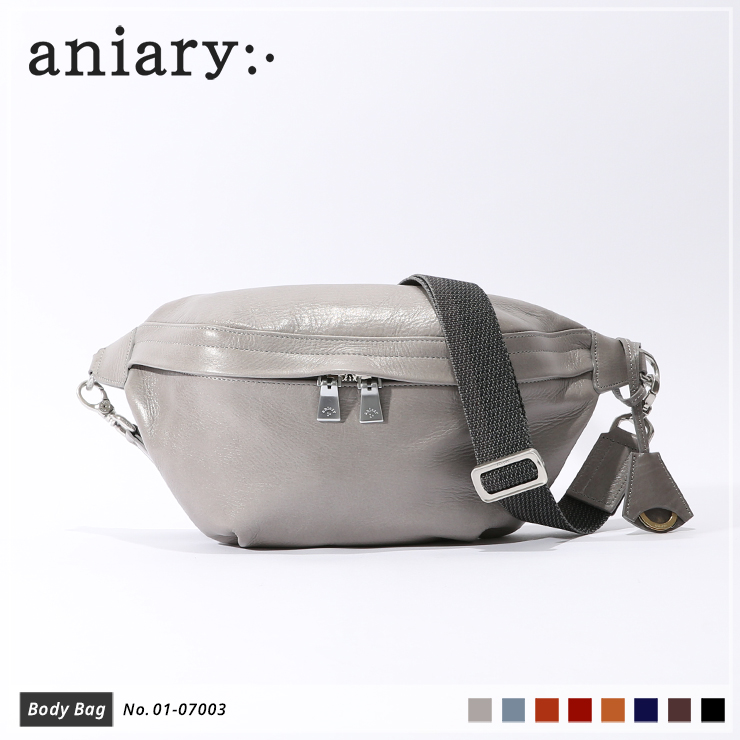 【aniary|アニアリ】ボディバッグ Antique Leather 01-07003 Light Gray