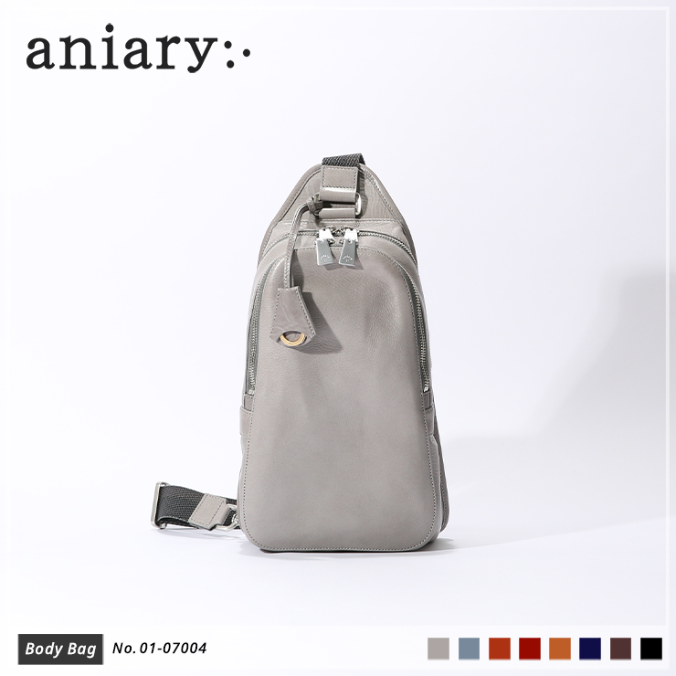 【aniary|アニアリ】ボディバッグ Antique Leather 01-07004 Light Gray