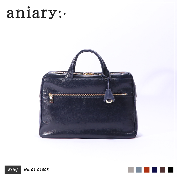 【aniary|アニアリ】ブリーフケース Antique Leather 01-01008 Dark Blue