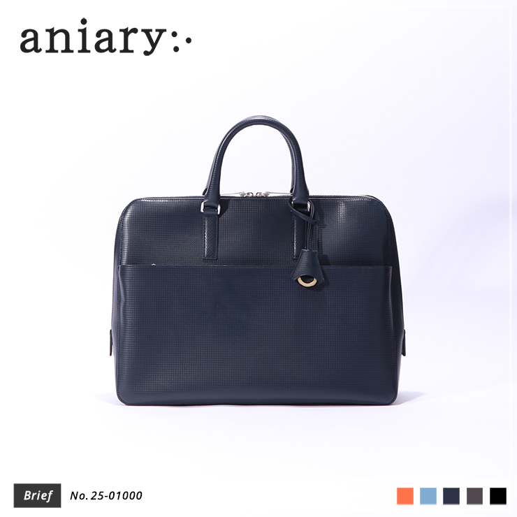 【aniary|アニアリ】ブリーフケース Grid Leather 25-01000 Navy