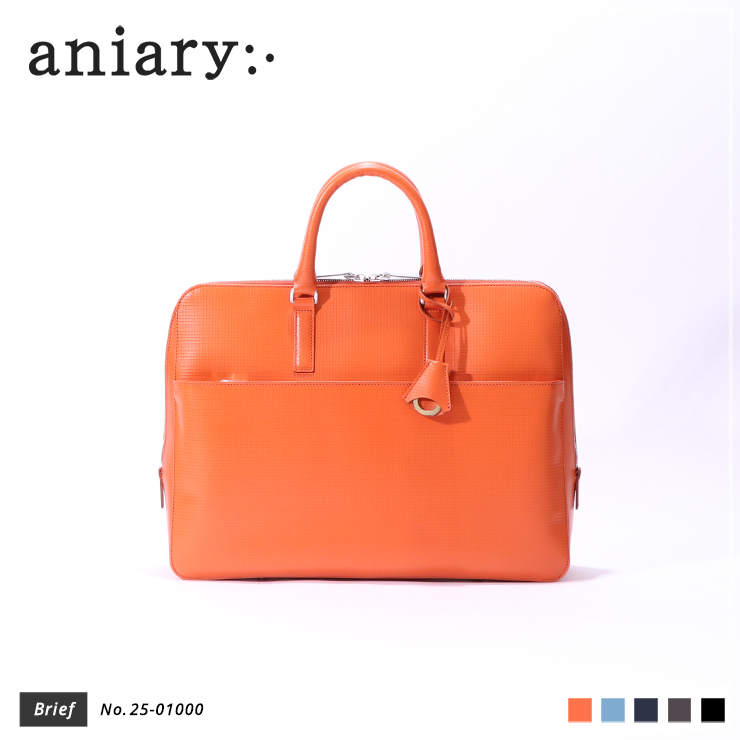 【aniary|アニアリ】ブリーフケース Grid Leather 25-01000 Orange