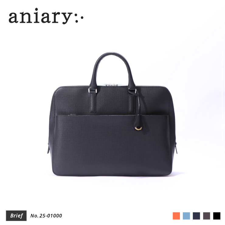 【aniary|アニアリ】ブリーフケース Grid Leather 25-01000 Black