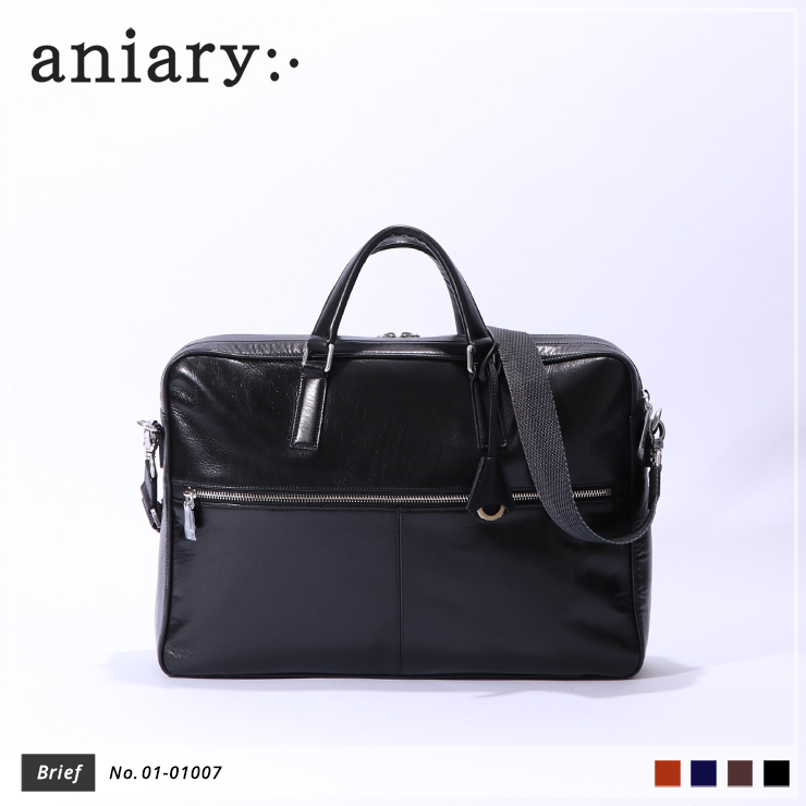 【aniary|アニアリ】ブリーフケース Antique Leather 01-01007 Black