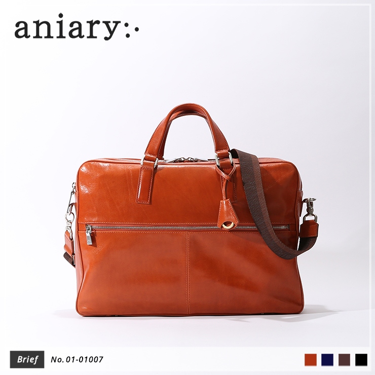 【aniary|アニアリ】ブリーフケース Antique Leather 01-01007 Dark Orange