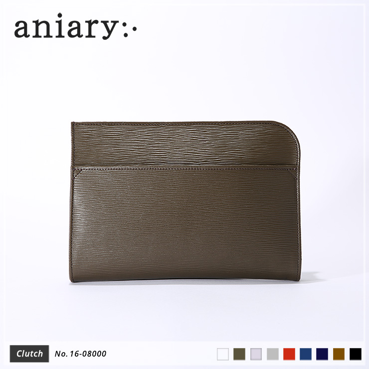 aniary クラッチバッグ Wave Leather 牛革 Clutchbag 16-08000-olv
